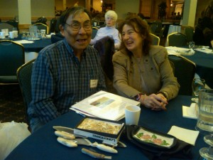 At Arctic Lilly Institute with Tribal Elder Sam Smith who made me mastadon earrings from Southwestern Alaska.